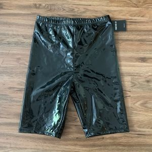 Forever 21 patent faux leather biker shorts